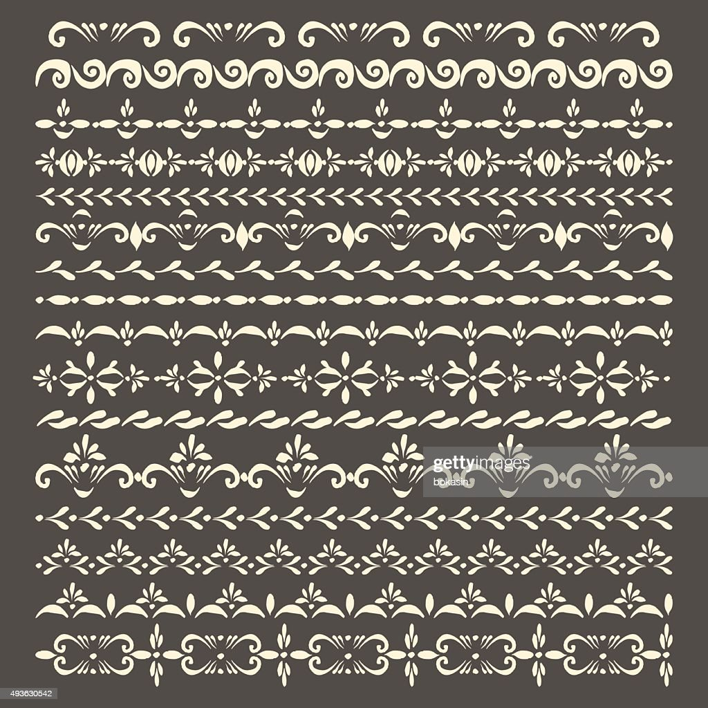 Vector stipe ornaments and pattern brush set