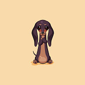 Vector stock illustration emoji of cartoon character dog talisman, phylactery hound, mascot pooch, bowwow dachshund sticker emoticon German badger-dog sleeps on stomach emotion design