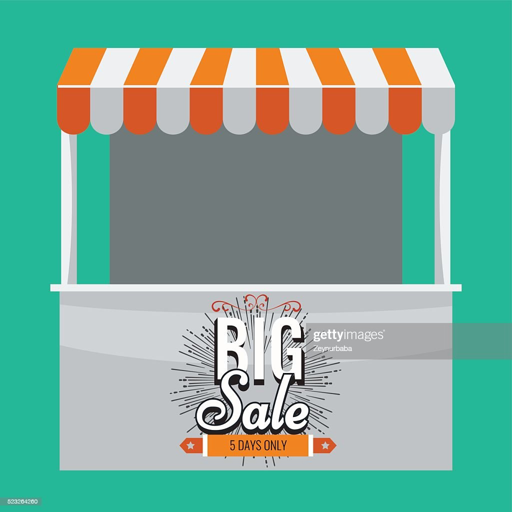 Vector store booth with awning and big sale.