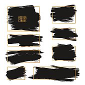 Vector Strokes. Abstract Backhground Set. Black and gold ink paints.