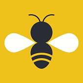Vector style bee with white wings on a yellow background