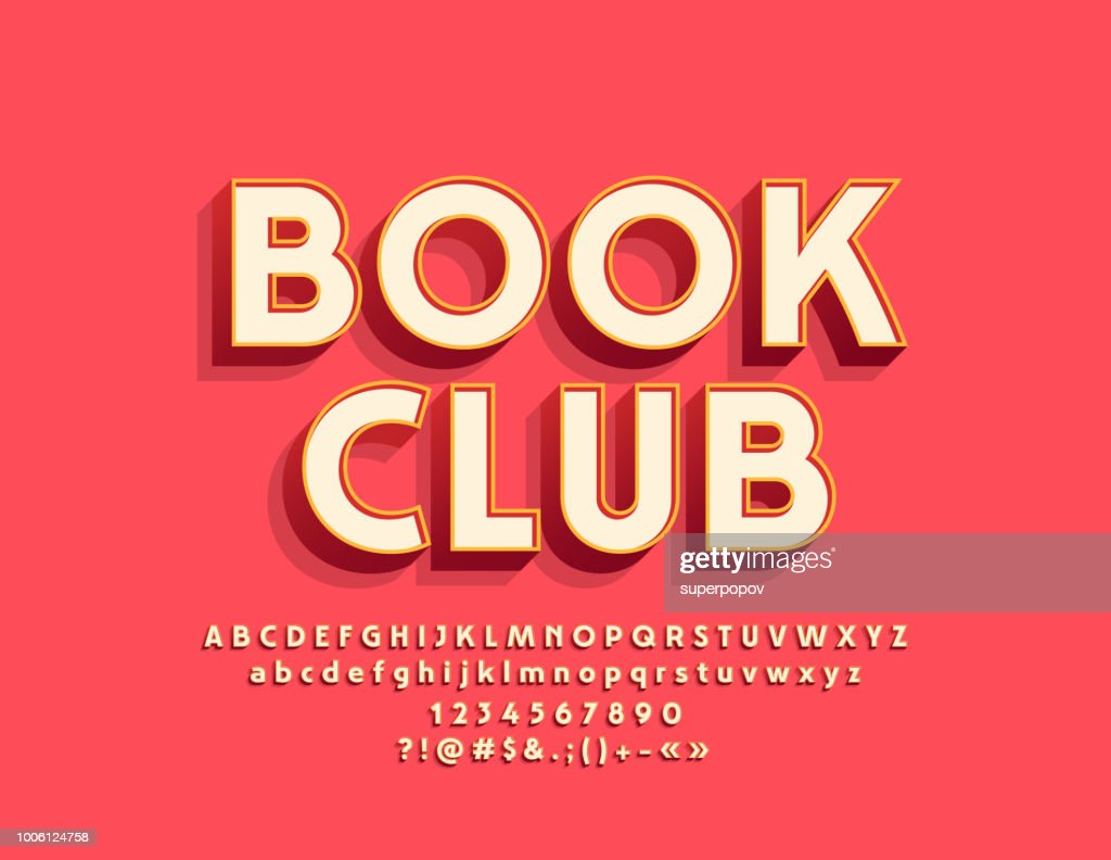 Vector stylish Emblem Book Club with Alphabet