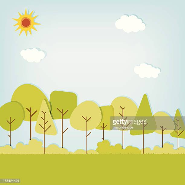vector stylized forest background