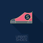 Vector Stylized sneakers. Outline urban shoes with long shadow.