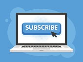 Vector subscribe button with cursor in flat design. For video streaming website banners, blogs, content updates and news feed. Laptop notebook computer screen