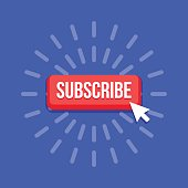 Vector subscribe button with cursor in flat design