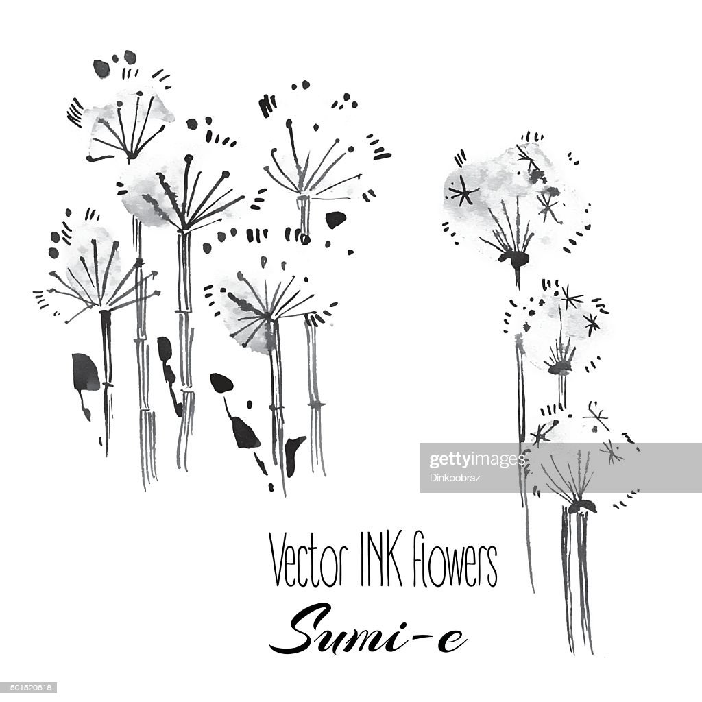 Vector sumi-e traditional elements.Dandelion and fluff