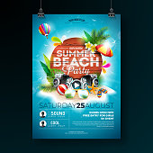 Vector Summer Beach Party Flyer Design with typographic elements on wood texture background. Summer nature floral elements, tropical plants, flower, beach ball and sunshade with blue cloudy sky. Design template for banner, flyer, invitation, poster.