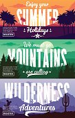 Vector summer, mountains and desert adventures banners