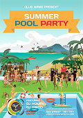 Vector summer pool party invitation beach style
