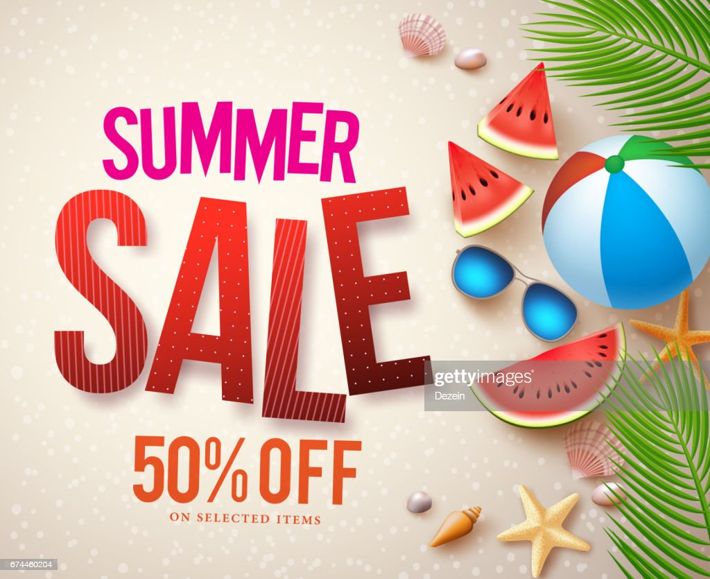 Vector summer sale banner design with sale text and elements