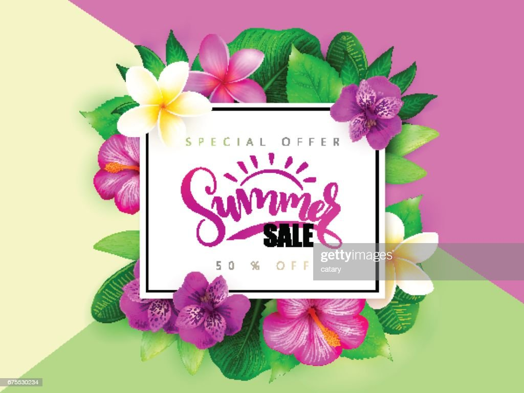 Vector summer sale banner with hand lettering and tropical flowers - alstroemeria, plumeria, hibiscus and leaves