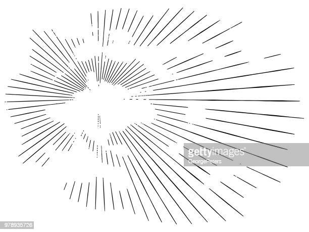 vector sunbeams through clouds - woodcut stock illustrations