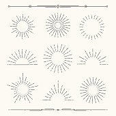 Vector sunbursts, sun rays, sunset icons, radial sun flashes and geometric dividers.