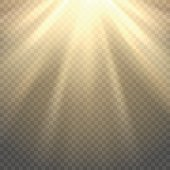 Vector sunlight on transparent background