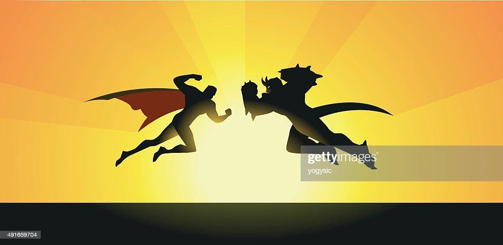 Vector Supeheroes vs Monster Silhouette