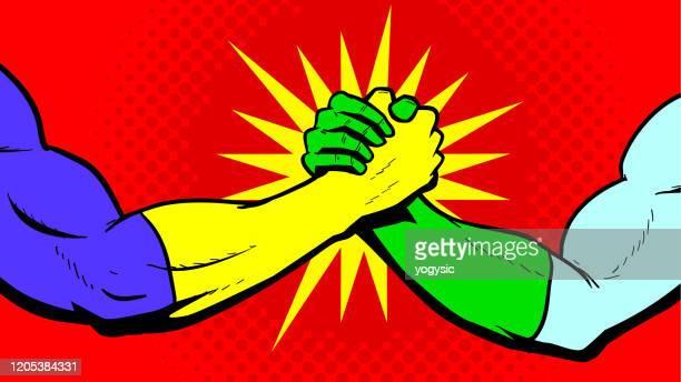 vector superhero bro handshake stock illustration - comic book stock illustrations