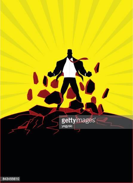 Vector Superhero Businessman Emitting Screaming Energy