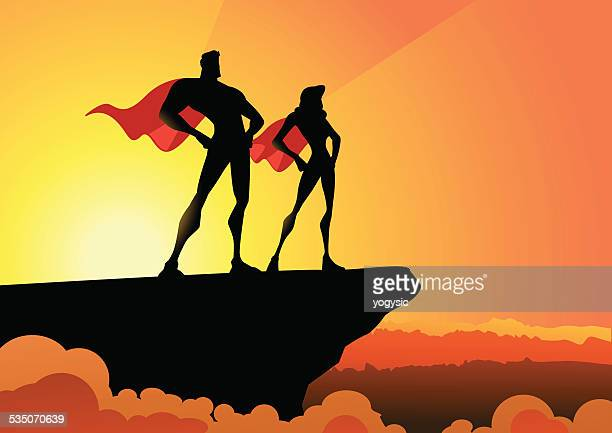 Vector Superhero Couple in Silhouette