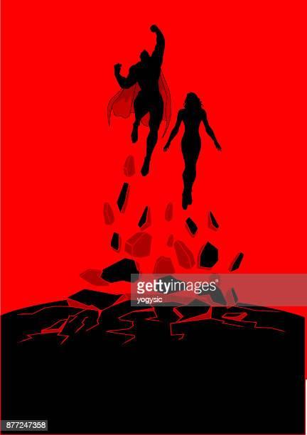 vector superhero couple silhouette flying upward - heroines stock illustrations