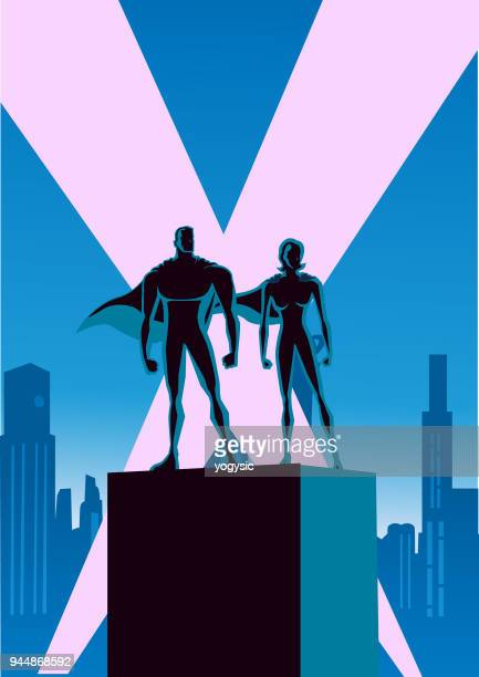 vector superhero couple silhouette with city skyline background - courage stock illustrations