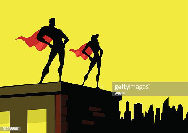 vector superhero couple simple silhouette - slim stock illustrations