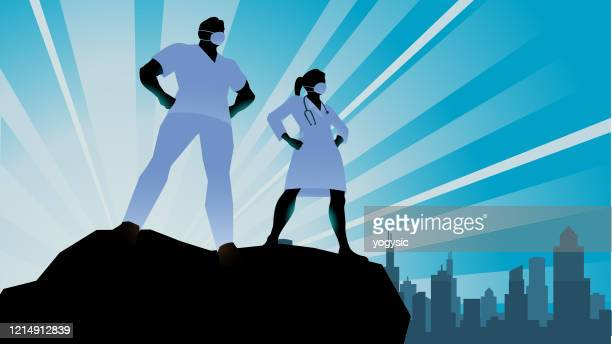 vector superhero doctor healthcare workers silhouette stock illustration - heroes stock illustrations