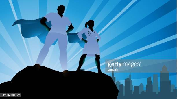 vector superhero doctor team silhouette stock illustration - heroes stock illustrations