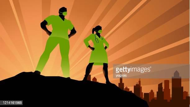 vektor superhelden ärzte silhouette stock illustration - corona sun stock-grafiken, -clipart, -cartoons und -symbole