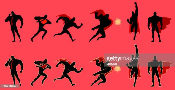 vector superhero figure silhouette set - punching stock illustrations