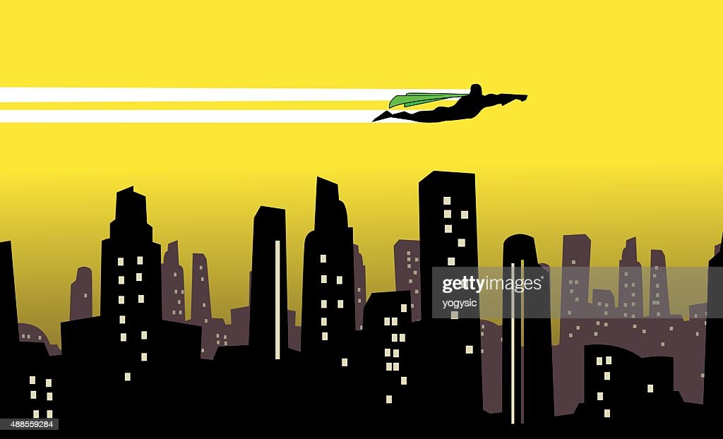Vector Superhero flies over a city silhouette
