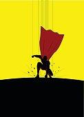 Vector Superhero Landing Silhouette
