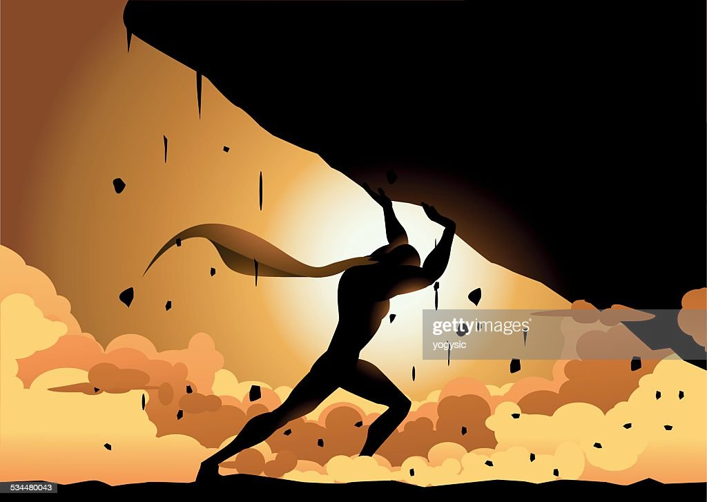 Vector Superhero Lifting a Heavy Rock Silhouette