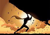 Vector Superhero Lifting a Heavy Rock Silhouette