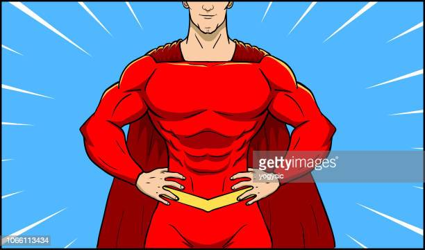 vector superhero male superhero close-up to the chest - chest torso stock illustrations, clip art, cartoons, & icons