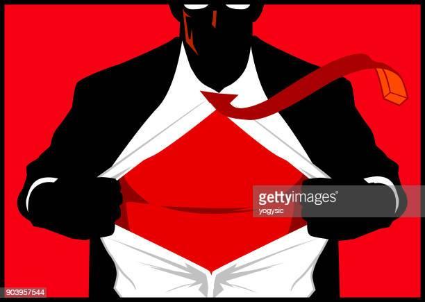 vector superhero opens shirt silhouette - open collar stock illustrations