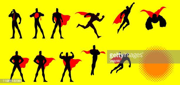 vector superhero poses set - heroes stock illustrations