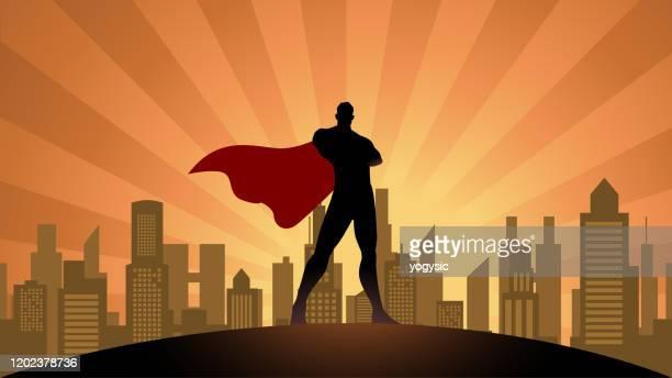 vector superhero silhouette in the city stock illustration - comic book stock illustrations