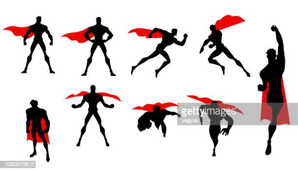 vector superhero silhouette set - cape garment stock illustrations
