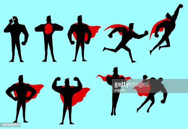 vector superhero silhouette set - superhero stock illustrations
