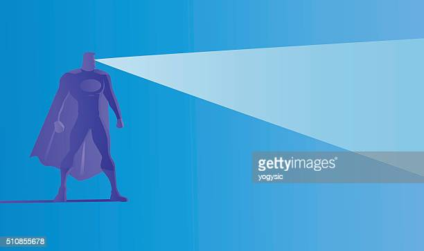 Vector Superhero Silhouette Shooting X-Ray Laser