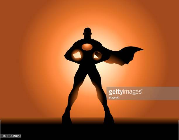 vector superhero silhouette - chest torso stock illustrations, clip art, cartoons, & icons
