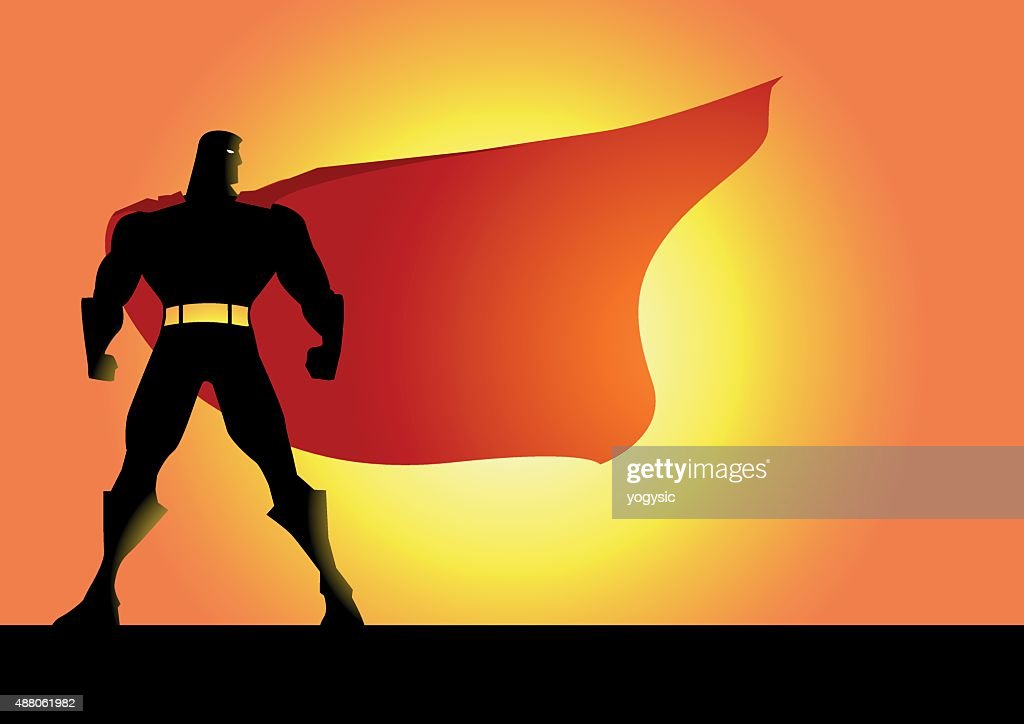 Vector Superhero Silhouette With A Big Cape stock
