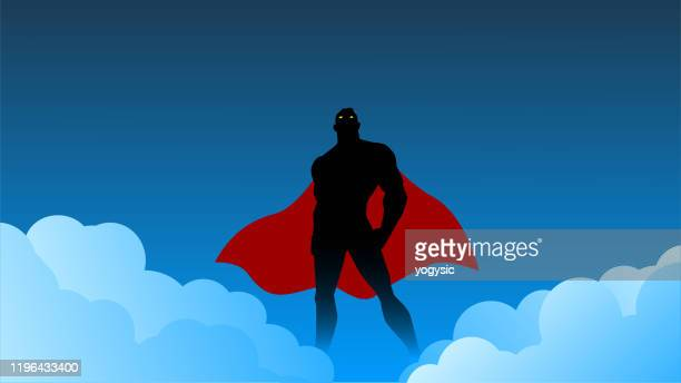 vector superhero silhouette with smoke effect illustration - wide screen stock illustrations