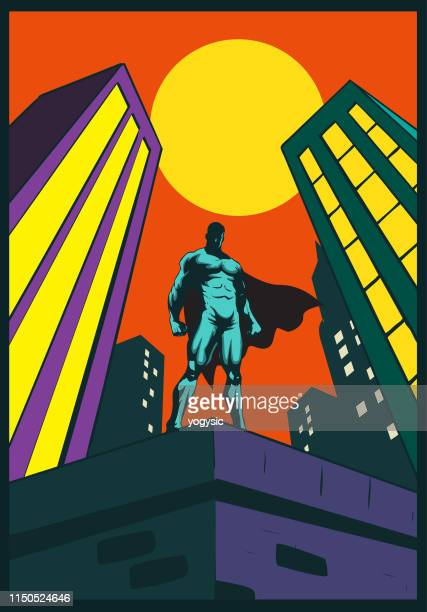 vector superhero standing on a rooftop in the city - guarding stock illustrations