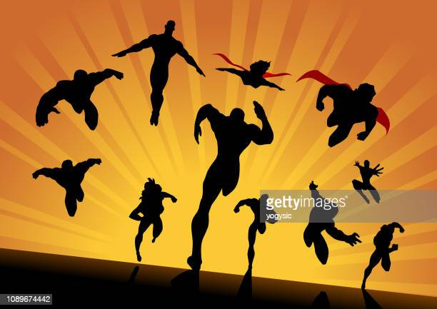 vector superhero team charging forward - heroes stock illustrations