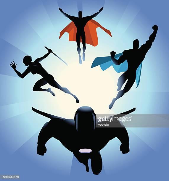 Vector Superhero Team Charging Silhouette