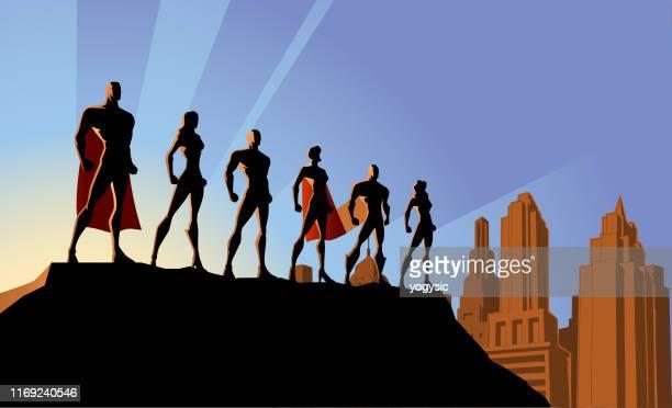 ベクトルスーパーヒーローチームの街のシルエットイラスト - 南北アメリカ点のイラスト素材/クリップアート素材/マンガ素材/アイコン素材