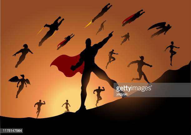 vector superhero team running silhouette with sunlight in the background - heroes stock illustrations