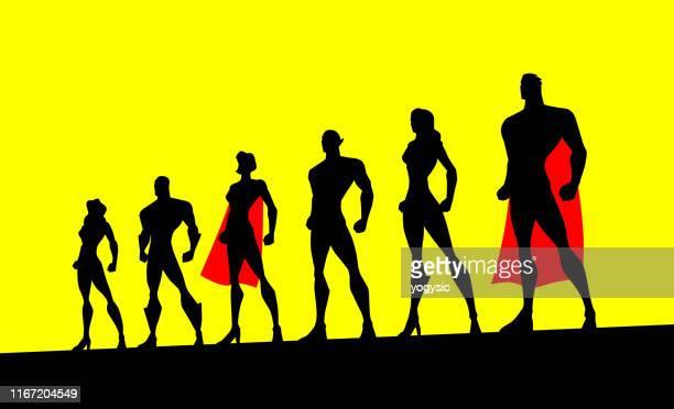 vector superhero team silhouette illustration - heroines stock illustrations